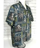 Mens Royal Creations Hawaiian Short Sleeve Shirt Size Large Guitars Palm... - $19.95