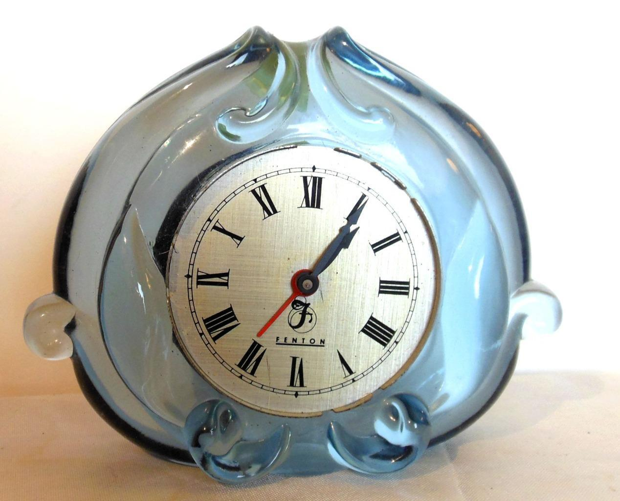 Vintage Fenton Blue Glass Clock Case Only 4.5 x 6""