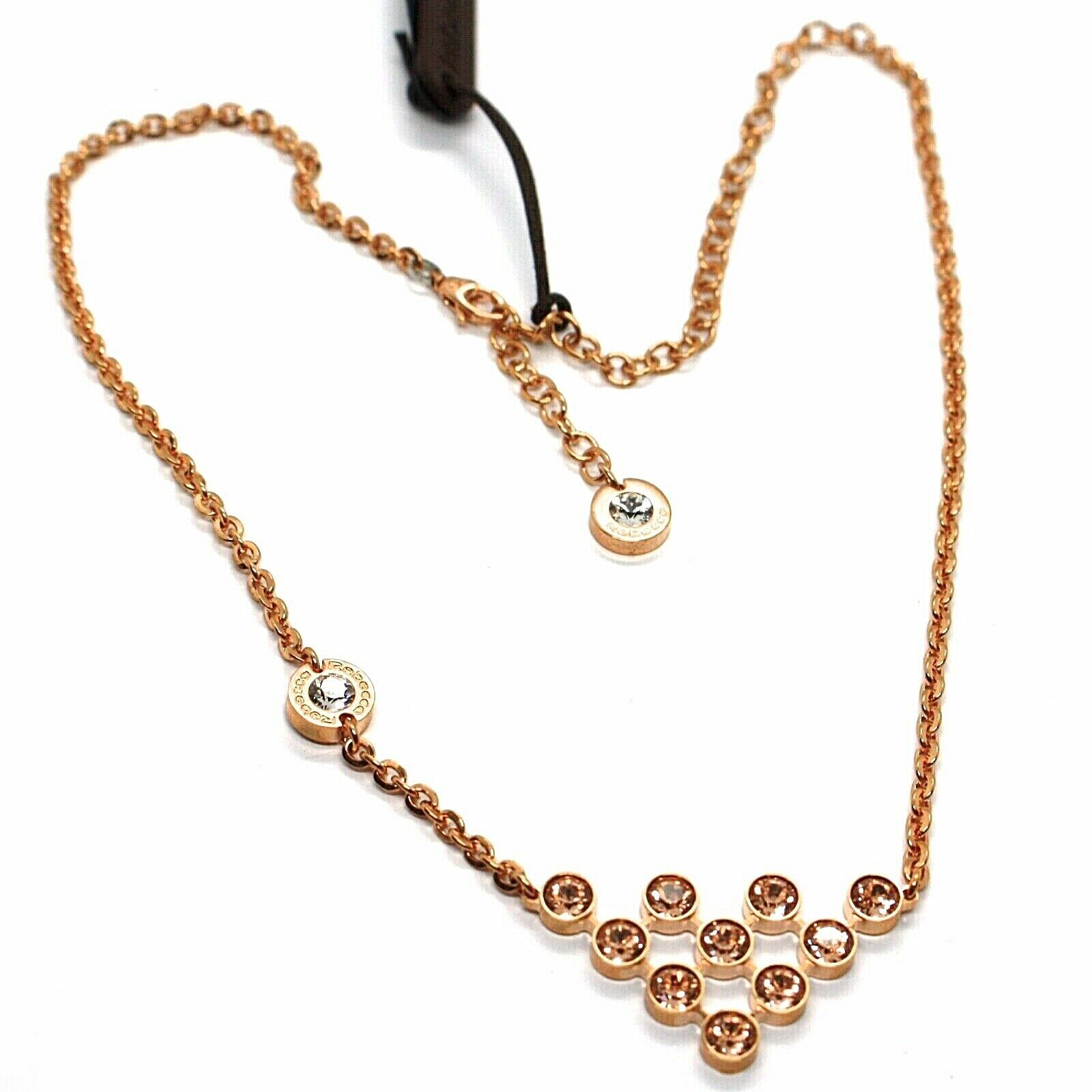 REBECCA BRONZE ROSE NECKLACE, TRIANGULAR CENTRAL WITH ORANGE CRYSTALS, BPBKRP05