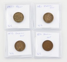 Lot of Four Indian Cents (1857, 1861, 1873, 1874) Brown, Very Good Condi... - $128.69
