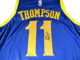 KLAY THOMPSON / AUTOGRAPHED GOLDEN STATE WARRIORS PRO STYLE BLUE JERSEY / COA image 3