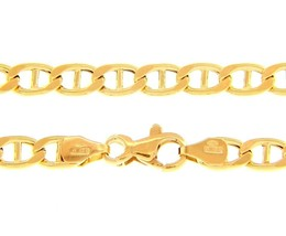 """18K YELLOW GOLD CHAIN FLAT BOAT MARINER OVAL NAUTICAL BIG 5.5mm LINK, 50 cm, 20"""" image 1"""
