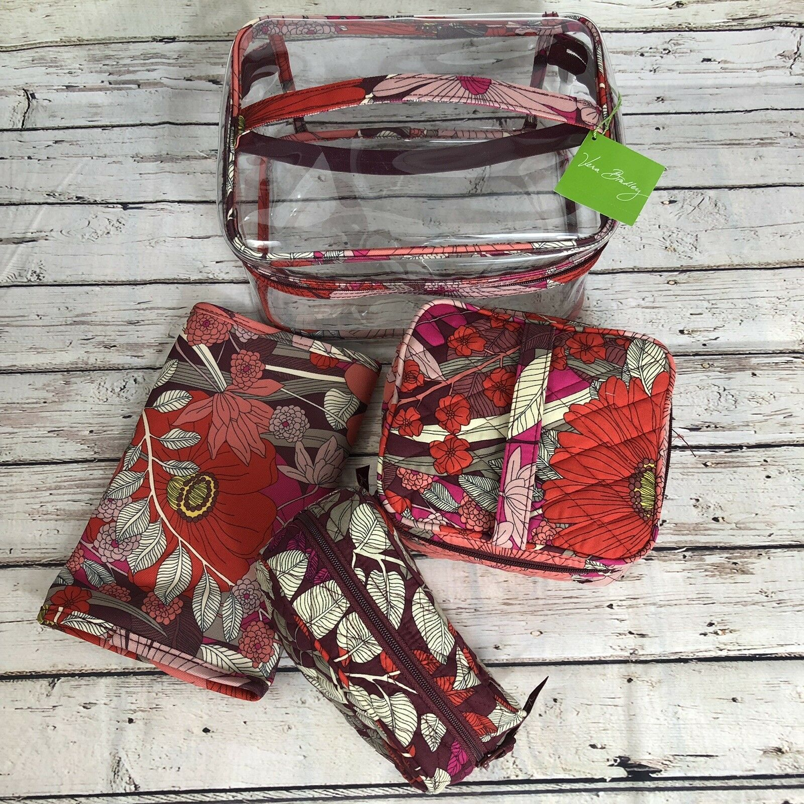 Primary image for 4-Piece Vera Bradley Large Travel Cosmetic Set Bohemian Blooms - $58 Retail GIFT