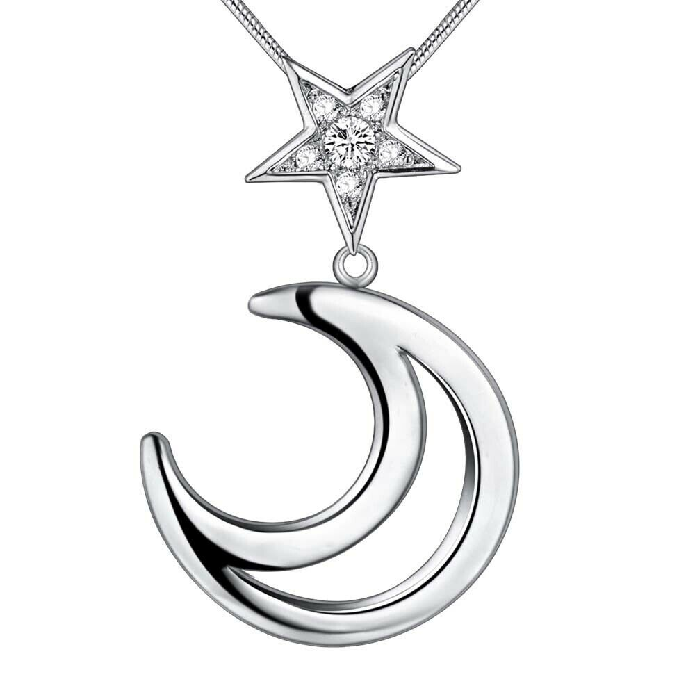 Primary image for Crescent Moon with Star Pendant Necklace 925 Sterling Silver NEW