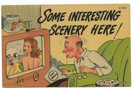 1952 Linen Curt Teich Comic Postcard- C-821 man watching television - $9.99