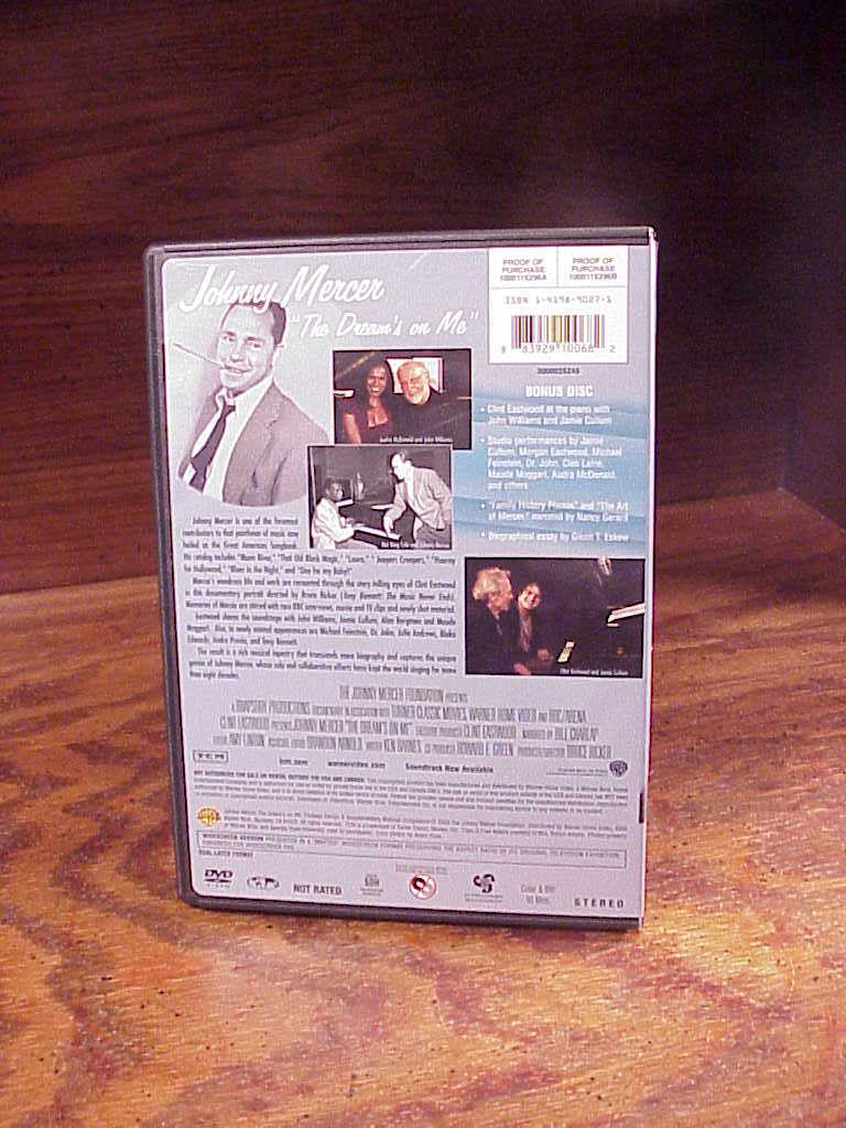 Johnny Mercer The Dream's On Me 2 DVD Disc Set, used, A Film by Bruce Ricker