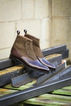 Handmade Men's Brown Leather & Tweed High Ankle Brogues Buttons Boots image 3