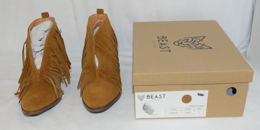Beast Fashion Carrie 01 Camel Fringe Slip On Shoes Size Seven
