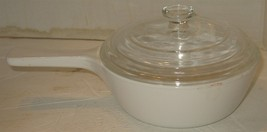 Vintage Corning Ware 1 Pint Cup White Saucepan P-81-B with Pyrex Glass Lid USA - $18.81