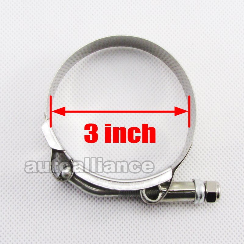 "2x 3"" inch Turbo Pipe Silicone Hose Coupler T-bolt Clamps Stainless Steel"