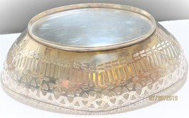 Silver decorative serving bowl. Perfect for buns, biskets or bread. Plated unmar image 2