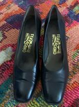 Salvatore Ferragamo Womens Size 7.5 A Black Leather Square Toe Pumps - $59.40