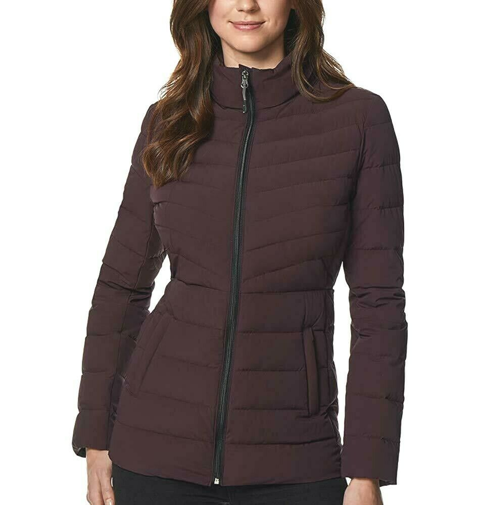 32 Degrees Women's 4-Way Stretch Puffer Jacket Light Weight Eggplant Size XLarge