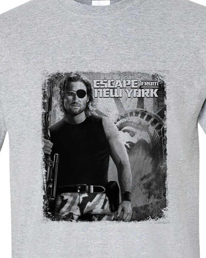 Escape from New York t-shirt Snake Plissken retro 80's sci fi film sports gray