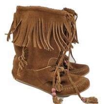 Minnetonka Brown Leather Fringe Size 8 Moccasin Boots 1668  - $44.54