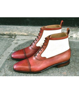 Handmade Leather Ankle Boot, Men 2 Tone Tan White Cap Toe Boot, Men Lace... - $169.97+