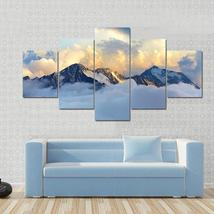 Framed 5Pcs Alpine Landscape With Peaks Covered By Snow & Clouds Canvas ... - $76.99+