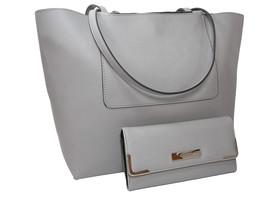 Nine West Logo Purse XL Hand Bag & Matching Check Wallet 2 Piece Set Gray NWT - $128.69