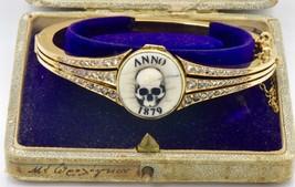 $28000 Victorian 18k gold&diamonds MEMENTO MORI SKULL Bracelet poison/pi... - $19,600.00