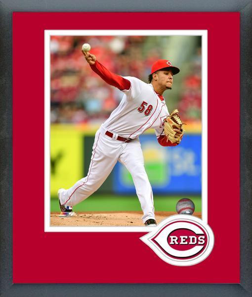 Luis Castillo 2017 Cincinnati Reds Action -11x14 Team Logo Matted/Framed Photo