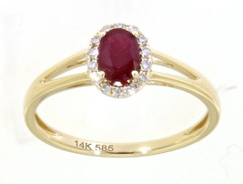 Ruby Gem Birthstone Real Diamond Halo Ring Fine Jewelry 14K Yellow Gold ... - $775.00