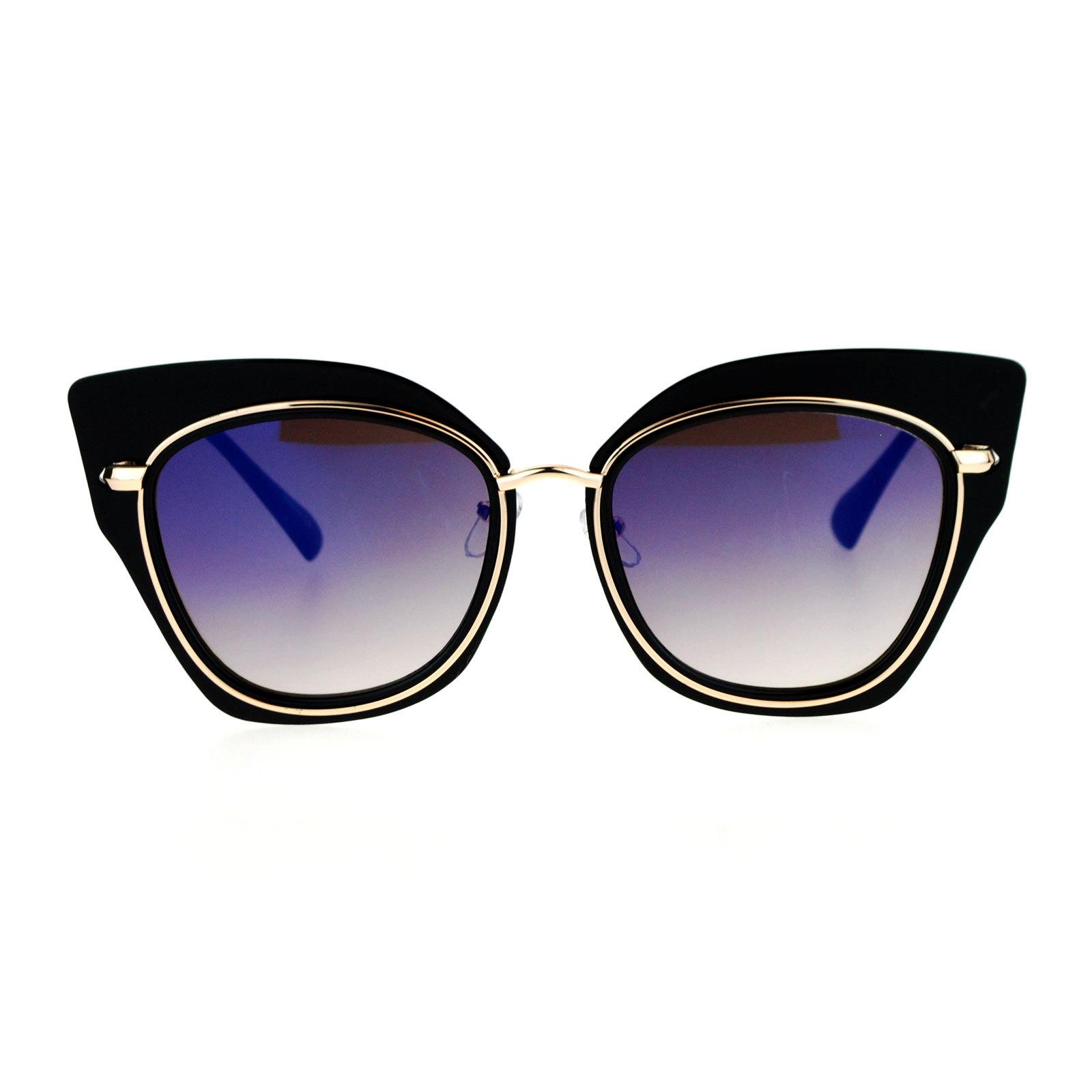 SA106 Flat Panel Mirror Lens Oversize Cat Eye Double Frame Womens Sunglasses