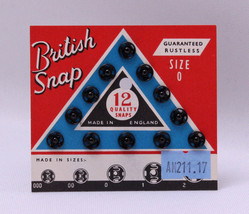 12 Count British Snaps - Black Size 0 Quality Snaps Garment Fasteners M2... - $2.00