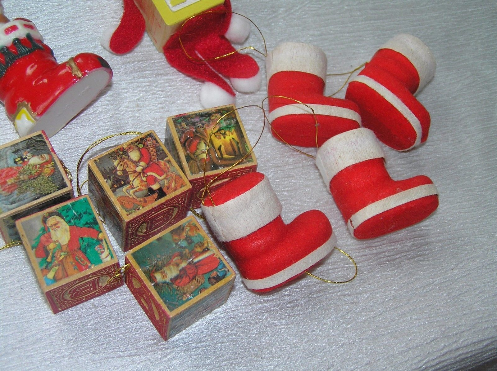 Lot of 11 Faux Wood Building Blocks Folk Art Elf Flocked Christmas Stocking  image 8