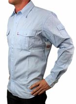 NEW LEVI'S MEN'S COTTON CLASSIC REGULAR FIT BUTTON UP SHIRT SKY BLUE-057CC XL image 3