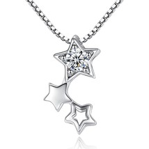 925 Sterling Silver Necklace Flashing Samsung Light Zircon Hollow Necklaces & Pe - $9.78