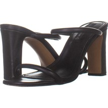 STEVEN Steve Madden Jersey Double Strap Sandals 406, Black Leather, 9.5 US - $29.37