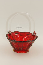 1960 vintage ruby red fenton thumbprint dimpled glass basket - $25.00