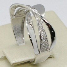 SOLID 18K WHITE GOLD BAND ZIRCONIA RING, ONDULATE, WAVE, LUMINOUS, MADE IN ITALY image 2