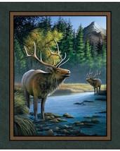 Wild Wings Mountain Sky Elk Wall Panel 100% cot... - $6.36