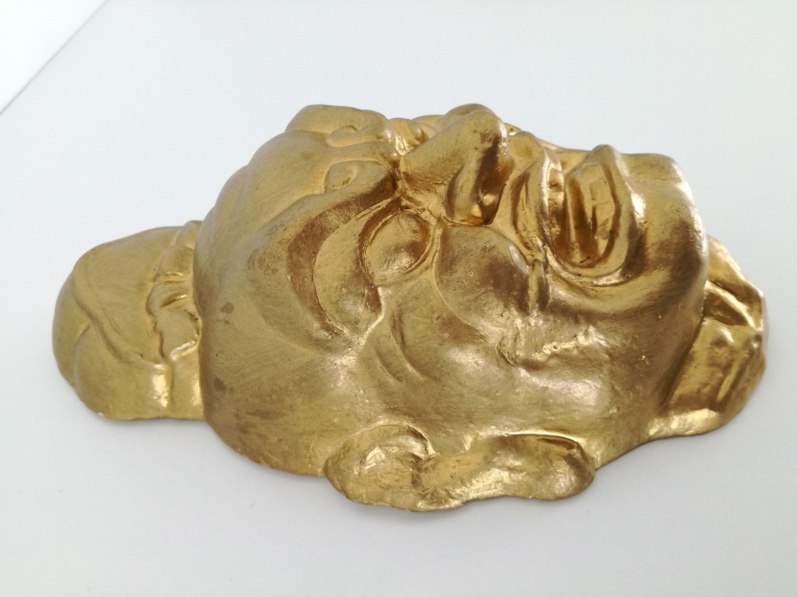 "Vintage or Antique Chinese plaster mask gold face 10"" image 3"