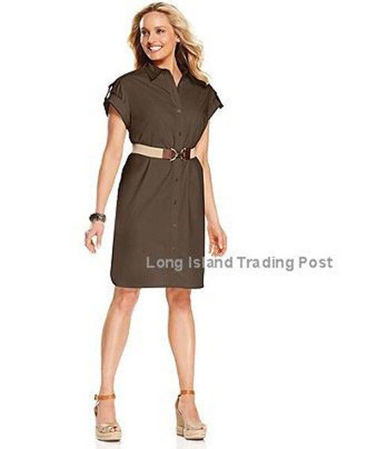Primary image for Charter Club NEW Brown Shirt Dress Roll-Tab Sleeve Career Casual  8
