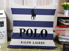 Polo Ralph Lauren Blue White Cover Pillowcases 16x16 18x18 20x20 Inc Pil... - $18.00+