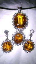 Orange Sapphire Pendant 28.74ct Oval w/ Diamonds GIA Pirate Gold Coins Jewelry - $34,500.00
