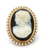 14k Rose Gold Victorian Hardstone Cameo Brooch with Pearls - $1,039.50