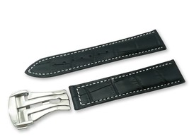 Black/White Cr Leather Watch Strap for Omega Seamaster Clasp 18 19 20 21... - $37.26+