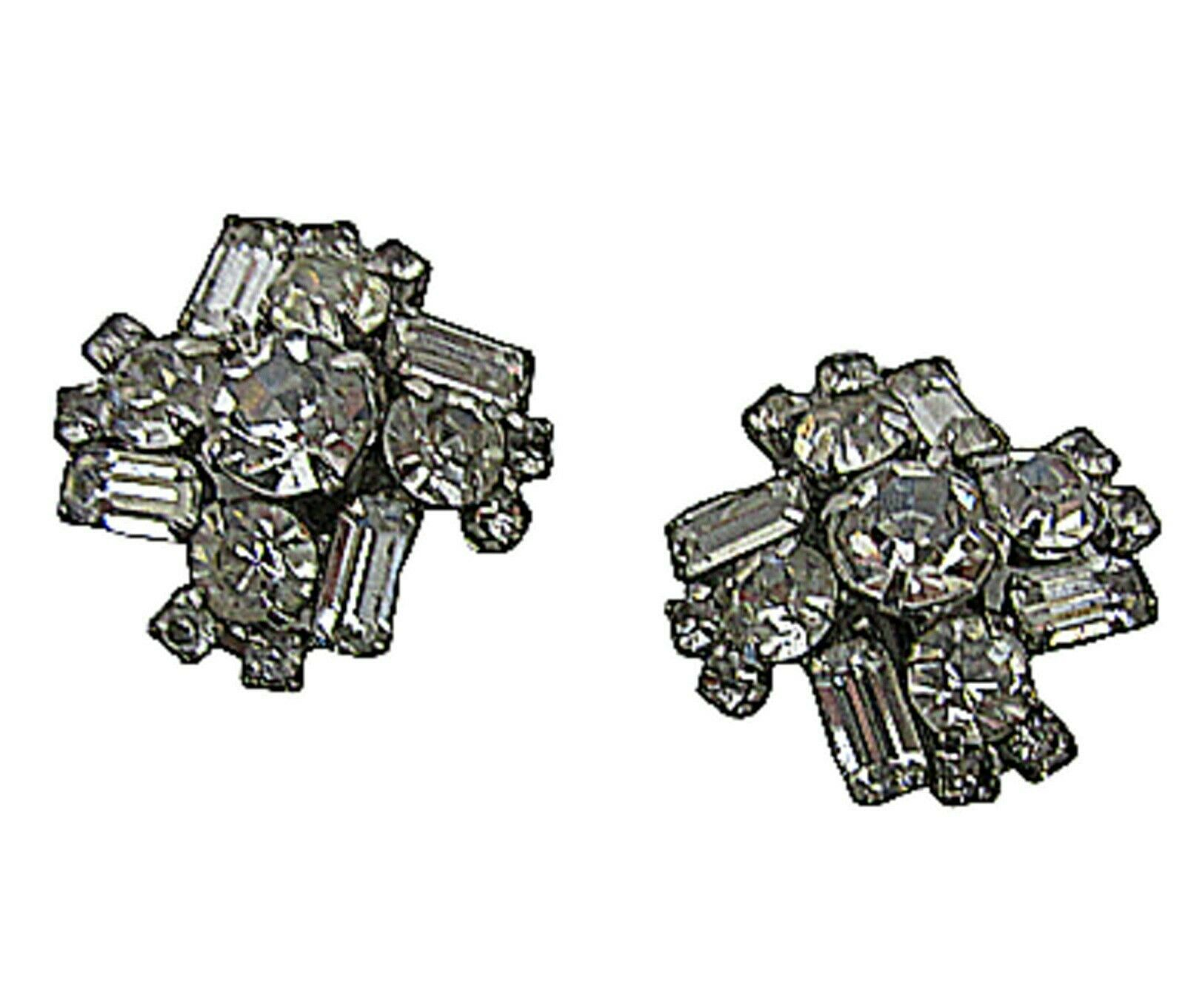 "Primary image for Womens vintage rhinestone clip earrings ""white"" silver tone 1950s unsigned 1"""