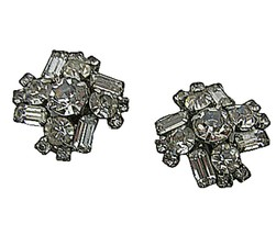 """Womens vintage rhinestone clip earrings """"white"""" silver tone 1950s unsign... - $22.53"""