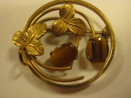 MARKED WELLS 14K GF WITH TIGER EYE STONES PIN - $14.85