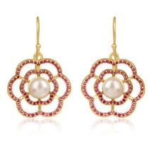 Pearl Pink CZ Gemstone Flower Designer 925 Silver Gold Plated Hook Earrings - $75.24