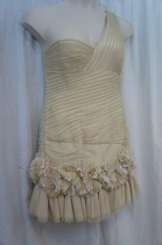 "BCBG Maxazria Dress Sz 12 Metallic Gold One Shoulder ""Barbie"" Cocktail Party"