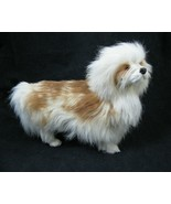 "Genuine Fur Dog Figure Goat Hair White Brown Puppy Realistic  8"" x 10"" vtg - $23.71"
