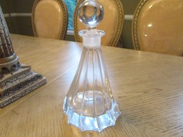 CRYSTAL GLASS WINE DECANTER W/STOPPER CONTEMPORARY SWIRL DRAPING PATTERN... - $24.70