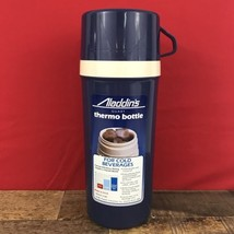 1984 Aladdin's QUART Thermo Bottle Cold Beverages Thermos Navy Blue - $9.49