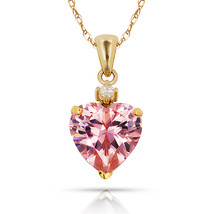 3.07CT Pink Sapphire Heart Shape Gemstone Pendant & Necklace 14K Yellow ... - $78.20+