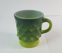 Vintage Anchor Hocking Fire-King Green Kimberly Diamond Pattern Coffee C... - $21.77